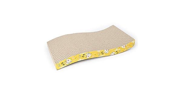 olprkgdg Gato rascarse cama crujiente de cartón Neirukua Diseño de la onda gato sofá Tsumetogi uñas estera estrés esmalte de cartón de alta densidad de los ...