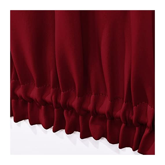 """NICETOWN Blackout Draperies Curtains for Doors - Functional Thermal Insulated Sidelight Blackout Door Panel Curtains Christmas Holiday Decor, 25x72 - Burgundy(2 Panels) - PRODUCT INFO.: Package comes with 2 panels of door curtains. Each panel measuring 25 inches wide by 72 inches long comes with matching adjustable TIEBACK. 2 rod pockets(diameter: 1"""" each)on the both top and bottom sides give the curtains a nice fit. NICE FUNCTION: Made of triple weave blackout material, these blackout door curtains can block 85%-142% harmful lights and UV rays out. By a special weaving way, the curtain prevents hot air in summer and cold wind in winter from entering the room. STYLISH&PRIVACY: Designed for glass / glazed doors. Pure color are suitable the most home decoration styles. Adjustable tie backs can flexible control the light enter into the room, you can tie up for decorating room or full shade for keeping privacy. - living-room-soft-furnishings, living-room, draperies-curtains-shades - 41bs2gk5E3L. SS570  -"""