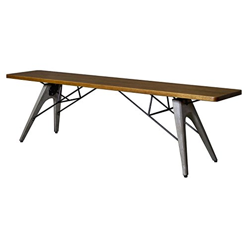 Christian Industrial Loft Wood Dining Bench by Kathy Kuo Home