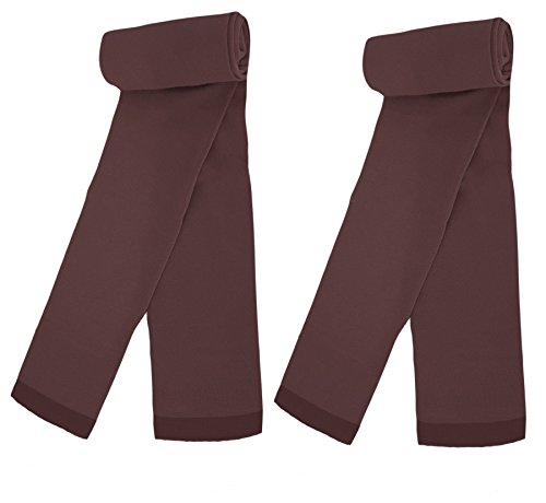 Country Kids Big Girls' Stretchy Pima Cotton Above Ankle Footless Dance Leggings Tights, Pack of 2, Fits 9-11 Years, Chocolate by Country Kids (Image #4)