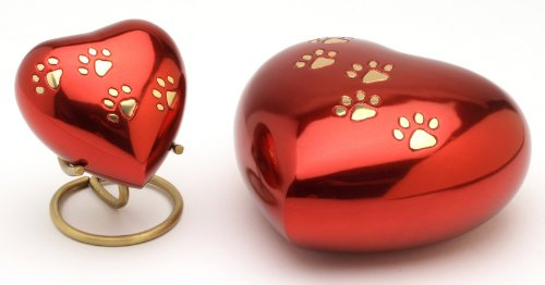 12,7 cm Color Rojo Urns UK Urna de coraz/ón para cremaci/ón de Mascotas