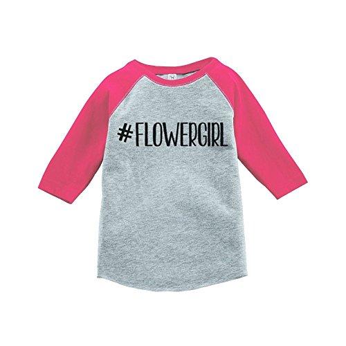 Custom Party Shop Baby Girl's Hashtag Flower Girl Wedding Raglan Tee SM Pink by Custom Party Shop