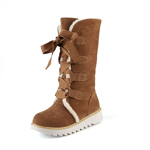 AgooLar Women's Mid-top Solid Lace-up Round Closed Toe Low-Heels Boots Brown wULxy