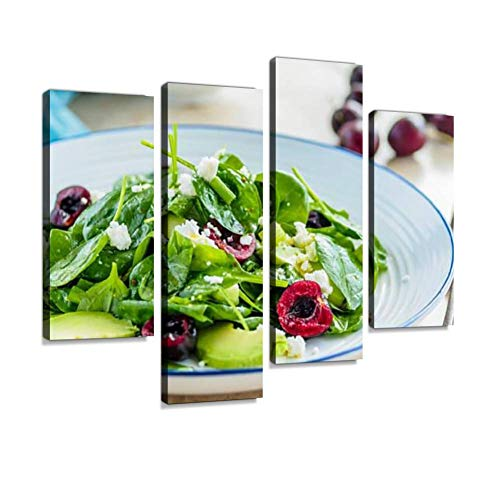 Healthy Spinach and Cherry Salad Canvas Wall Art Hanging Paintings Modern Artwork Abstract Picture Prints Home Decoration Gift Unique Designed Framed 4 Panel