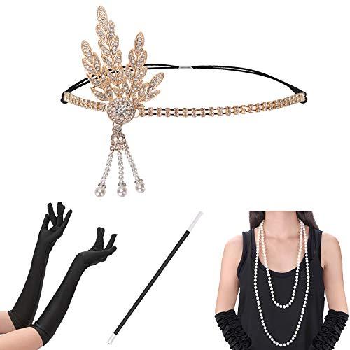 Xflyee 1920s Accessories Set Flapper Gatsby Costume Women Headband Gloves Necklace Earrings Cigarette Holder (X1)