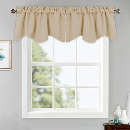 PONY DANCE Beige Window Valances - Scalloped Tiers Blackout Curtains Rod Pocket Half Drapes Home Decor Curtain Soft Fabric for Small Kitchen, 42