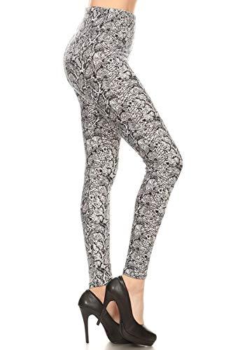 S698-OS Snake Skin Print Fashion Leggings, One Size