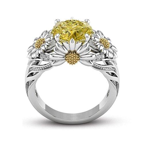BabiQ Fashion Women's Goddess Sunflower Diamond Crystal Silver Ring (7)