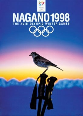 Vintage Ski World Nagano, Japan 1998 XVIII Winter Olympic Games Official Poster, Image Size 13 x 18 inches