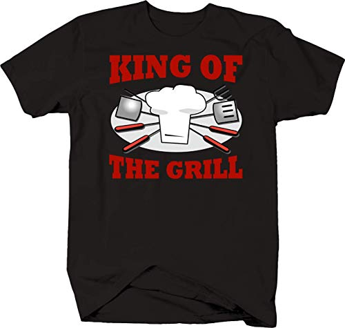 c12c4e39 King of The Grill with Utensils Funny BBQ Backyard Cookout Lover Tshirt 6XL  Black