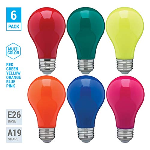 ((Pack of 6) LED 8-Watt Assorted Colors Multi-Color Pack (1 Red 1 Blue 1 Green 1 Yellow 1 Pink 1 Orange) A19 Dimmable Party Light Bulb - 120V E26 Energy Saving Standard Medium Base - Omni 360 Multi Dir)