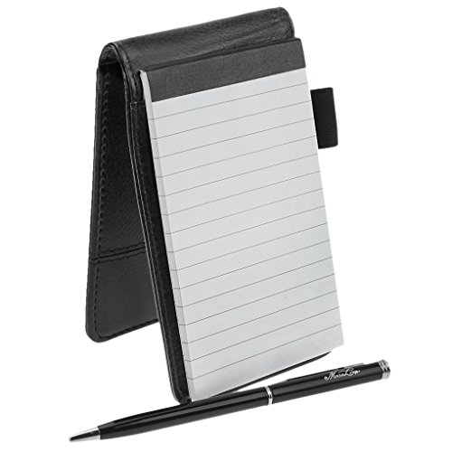 Small Pocket PU Leather Business Notebook Lined Memo Pad Holder Jotter Book Steno Notepad 3.5-Inch X 5.5-Inch Note Pad, Refillable, 8 Digital Calculator, Pen Holder Loop, Metal Ball Point Pen