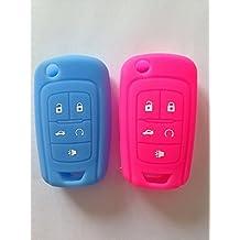 TCKEY SKY Blue+Rose Red Silicone Protective Fob Skin Key Cover Holder Key Jacket Protector for Chevrolet Camaro Cruze Volt Equinox Spark Malibu Sonic Flip Remote Key Case Shell 5 BTN BK