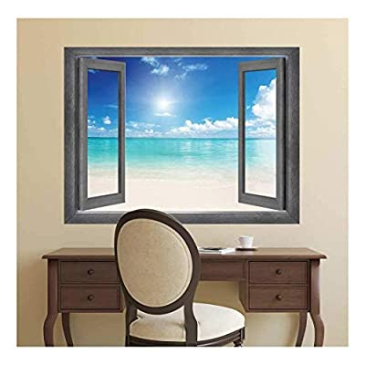 Open Window Creative Wall Decor - Crystal Blue Waters at The Peak of The Day - Wall Mural, Removable Sticker, Home Decor - 24x32 inches