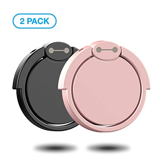 Finger Ring Stand 2 Pack,Ouktor 360° Rotary Cell Phone Adjustable Ring Stand Grip Mount Kickstand for iPhone X 8/8 Plus, Galaxy S8/S8 Plus and Almost All Cases/Phones (Black+Rose Gold)