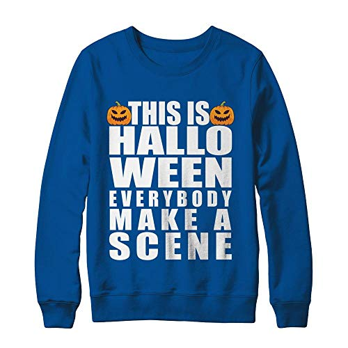 This is Halloween Everybody Make A Scene Costume Funny Pumpkin Face Hanes - Ultimate Heavyweight Crewneck Sweatshirt Deep Royal 2XL