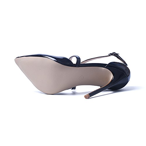 GENSHUO Women Cross Strapy Pointed High Heels Party Pumps Black 4bnziLYgmA