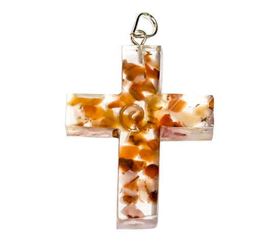 Crocon Red Carnelian Orgone Cross Shape Pendant for Reiki Healing Spiritual Gift Crystal for Unisex