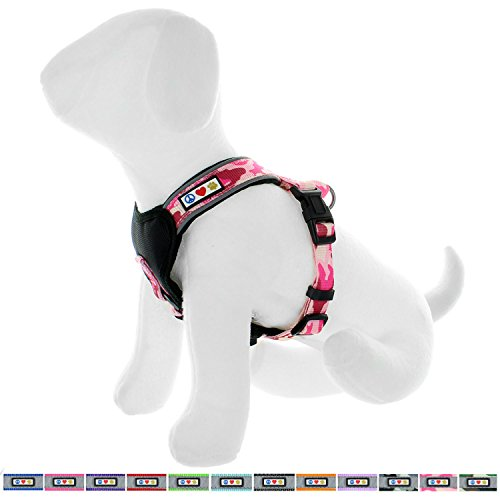 Harness Pet Comfort Control (Pawtitas Pet Training Soft Adjustable Reflective Oxford Padded Puppy/Dog Harness, Step in or Vest Harness, Comfort Control, Training Walking - No More Pulling, Tugging, Choking, Small Pink Camo)