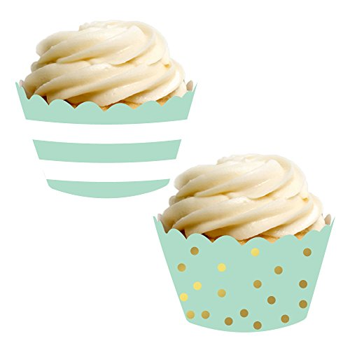 Andaz Press Party Cupcake Wrapper Decorations, Mint Green Stripes and Metallic Gold Ink Polka Dots, 24-Pack, Theme Colored Bulk Cake Supplies