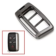 iJDMTOY (1) Premium Gun Metal Grey Alloy Metal Key Fob Cover Case For 2010-16 Land Rover Ranger Rover, Range Rover Sport, LR4 Discovery Evoque, 2011-up Jaguar XE XJ XF F-Type F-Pace, etc