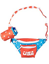 Red White & Blue Dream Team USA Fanny Pack - American Flag Fanny Pack w/Drink Holder