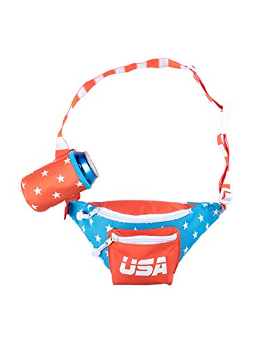 Red White & Blue Dream Team USA Fanny Pack - American Flag Fanny Pack w/Drink Holder - Beer American Drink
