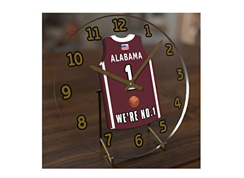FanPlastic College Basketball USA - We're Number ONE College Hoops Jersey Themed Clocks - Support Your Team !!! (Alabama Crimson Tide)