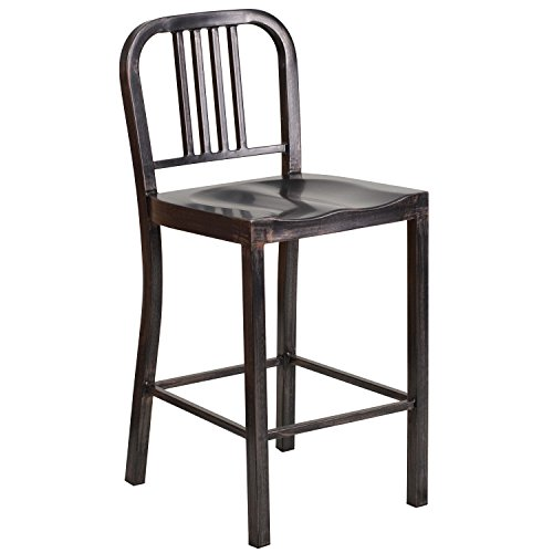 Flash Furniture 24'' High Black-Antique Gold Metal Indoor-Outdoor Counter Height Stool (24' Residential Ladder)
