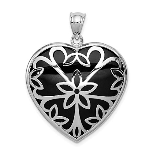925 Sterling Silver Black Onyx Heart Pendant Charm Necklace Love Fine Jewelry For Women Gift - Faceted Pendant Onyx