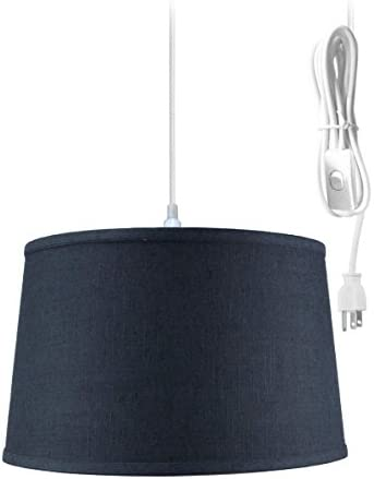 1 Light Swag Plug-in Pendant 16″w Shallow Drum Textured Slate Blue Shade