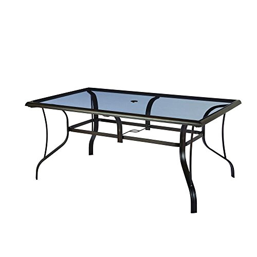 Hampton Bay Statesville Rectangular Glass Patio Dining Table ()