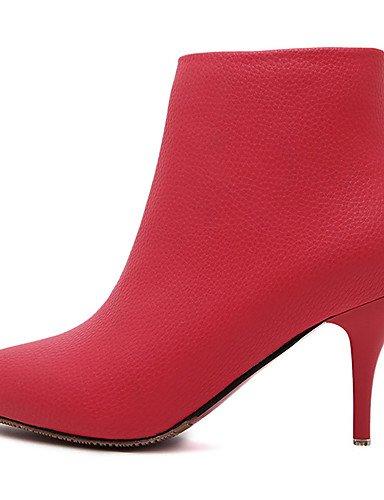 Tacón Eu35 Stiletto Cn34 Puntiagudos Botas Cn36 Negro Gris us5 Vestido Uk4 Xzz Black Zapatos Uk3 Tacones Rojo us6 Gray De Semicuero Mujer Eu36 Zwtgq
