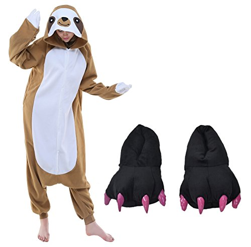 Sloth Halloween Cosplay Costume Pajamas One Piece Outfit+Slipper Monster Paw Claw(S fits 57-63')