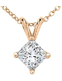Princess Cut Diamond Solitaire Pendant in Plus Quality in White, Yellow & Rose Gold-IGI Certified-0.70ct & up