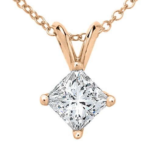 Princess Cut Diamond Solitaire Pendant Plus Quality in Rose Gold (0.05 ctw)