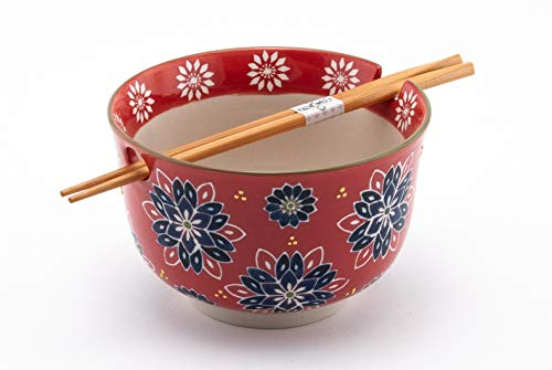 Multi Purpose Ramen Udon Soba Pho Noodle Donburi Rice Tayo Bowl with Chopsticks Gift Set 6.25 Inch Diameter (Red Batik) ()