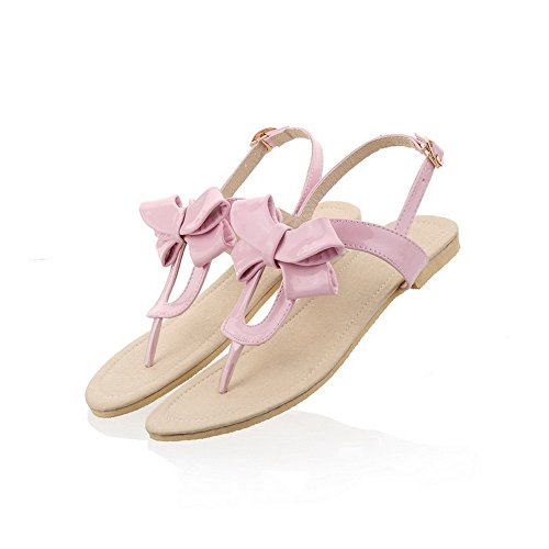 AmoonyFashion Womens Open Toe Patent Leather PU Solid Sandals with Bowknot Pink 9H6EA0