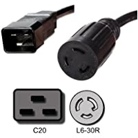 IEC C20 to L6-30R Plug Adapter - 1 Foot, 20A/250V - Iron Box # IBX-1684-01M