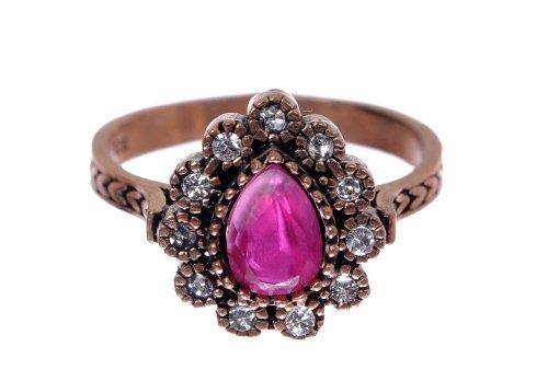 Antique Flower Drop Pear Cut Ruby Gemstone Diamond Stud Accent Elegant Hot (Ruby Antique Style Ring)