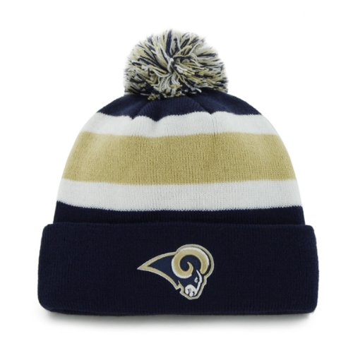 St Louis Rams Blue Cuff ''Breakaway'' Beanie Hat with Pom - NFL LA Cuffed Winter Knit Toque Cap by '47