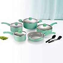 Lovepan Peas Pots and Pans Set, Gray Ceramic Coating Nonstick Aluminum Cookware Set With glass lids and Nylon Utensils, Dishwasher Safe PTFE/PFOA Free, 12-PCS, Blue
