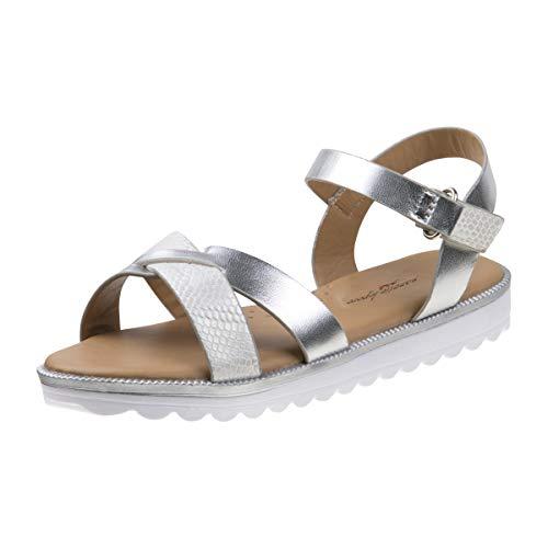 (Nanette Lepore Girls Criss Cross Strap Summer Sandals, Silver, 11 M US Little Kid')
