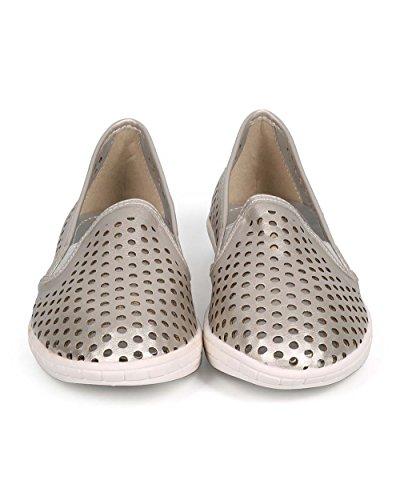 Dbdk Dg78 Femmes Métallisé Creux Bout Rond Élastique Glisser Sur Sneaker - Étain