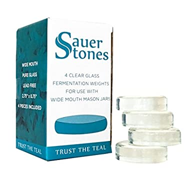 Sauer Stones - Large Glass Fermentation Weights for Mason Jar Fermentation, Preservation and Pickling - Fits ANY WIDE MOUTH MASON JAR - 4 Pack
