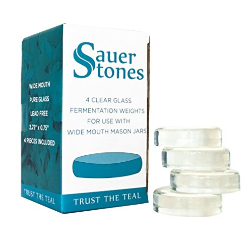 Sauer Stones - Large Glass Fermentation Weights for Mason Jar Fermentation, Preservation and Pickling - Fits ANY WIDE MOUTH MASON JAR - 4 Pack by Fermentology