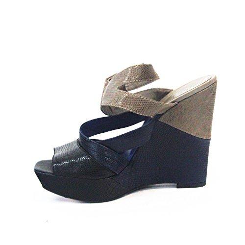 Juicy Couture dos tonos sandalias tacón Talla 4 Azul - Navy and Stone