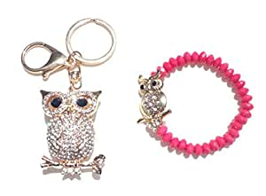Best Rhinestone Owl Bling Keychain and Hot Bracelet Set Popular Inexpensive Unique Top Fun Birthday Present Idea Women Mom Mother Girl Teen Niece Sister New Cool Cute Stocking Stuffer College Supplies