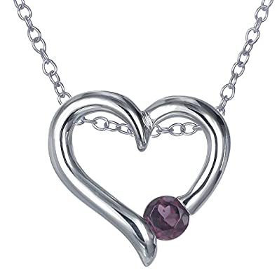 Sterling Silver Garnet Heart Pendant 1 4 CT With 18 Inch Chain