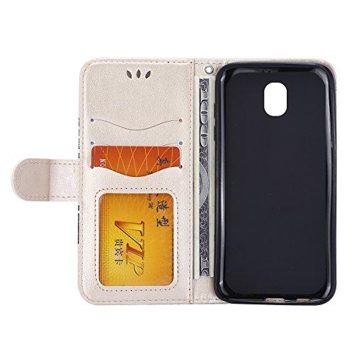 Funda Galaxy J5 2017(J530),SainCat Funda de cuero sintético tipo billetera con Función de Soporte,Funda Billetera para Tarjetas y Billetes,Ranuras para Tarjetas y Billetera Funda de Flip Ranuras Tarje Oro